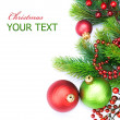 Stock Photo: Christmas Border Decorations over white