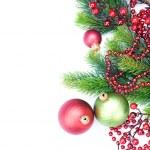 decoraciones de Navidad frontera sobre blanco — Foto de Stock
