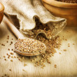 Stock Photo: Buckwheat Groats. Food Background