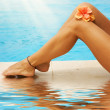 Vacation Concept. Legs In The Swimming Pool — Stock Photo