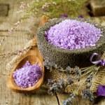 Spa Lavender Salt. Aromatherapy — Stock Photo