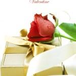 Valentine gift over white — Stock Photo
