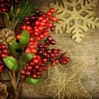 christmas vintage decoration border design over old wood backgro — Stock Photo