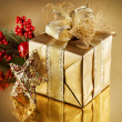 Christmas Golden Gift - Stockfoto