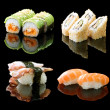 Sushi Set Over Black — Stock Photo