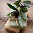 Olives over Wood Background — Foto de Stock