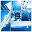 Yacht collage.Sailboat.Yachting concept — Stock Photo