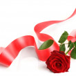 Red Rose And Ribbon — Stock Photo #10688224