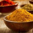 Spices Saffron, turmeric, curry - Stock Photo