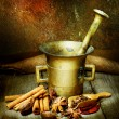 Spices And Antique Mortar With Pestle — Stock Photo