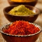Spices Saffron, turmeric, curry — Stock Photo