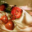 Two Hearts And Red Rose - Stock Photo