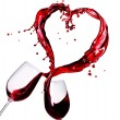 Foto Stock: Two Glasses of Red Wine Abstract Heart Splash