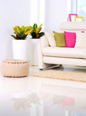 Modern Interior design.White Living Room — Stock Photo