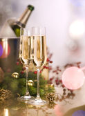 New Year Celebration.Two Champagne Glasses — Stock Photo