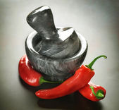 Red Hot Chili Pepper And Mortar — Stock Photo