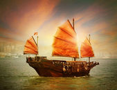 Hong Kong junk boat — Stock Photo