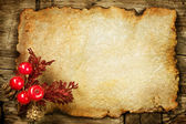 Christmas decorations on the Old Paper. With copyspace — Stock Photo