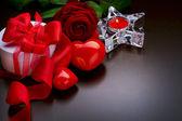 Romantische Dinner.Place Einstellung zum Valentinstag — Stockfoto