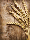 Wheat Ears on the Wood . Food Background — Stock Photo