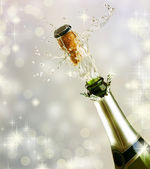 Champagne explosion. Celebrating concept — Stock Photo