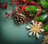 Christmas Decorations border design — Stock Photo