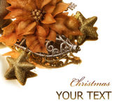 Christmas Decorations border. Isolated on white — Stock Photo