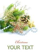 Jul och nyår dekorationer över vita — Stockfoto