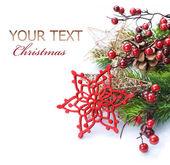 Christmas Decoration Border design isolated on white — Stock Photo