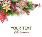 Christmas border over white — Stock Photo
