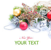 New Year or Christmas Decorations border over white — Stock Photo