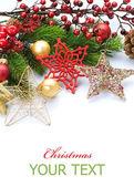 Frontera de navidad sobre blanco — Foto de Stock