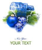 New Year and Christmas Decoration over white — Stock Photo