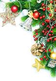 Christmas Corner design over white — Stock Photo