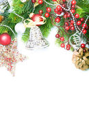 Christmas border over white — Stock Photo