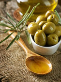 Olives and Virgin Olive Oil — Stock Photo