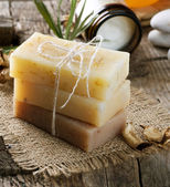 Handmade Soap closeup. Spa products — Stock Photo
