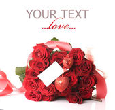 Big Rose Bouquet And Card Blank — Stock Photo