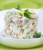 Salad Olivier. Russian traditional salad. Vegetable Salad — Stock Photo