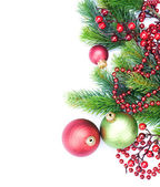 Christmas Border Decorations over white — Stock Photo