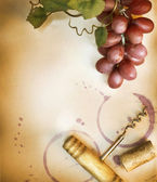 Wine Border Design Over Vintage Paper Background — Stock Photo