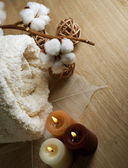 Cotton Towel And Candles — Stock Photo