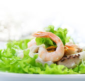 Healthy Seafood Salad with shrimps, octopus and mussels — Stock Photo