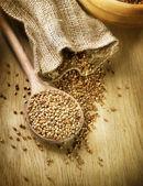 Buckwheat Groats In A Wooden Spoon — Stock Photo