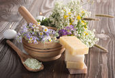 Natural Herbal Spa Products. Handmade Soap — Stock Photo