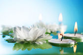 Burning Floating Candles And Flowers — Stock Photo