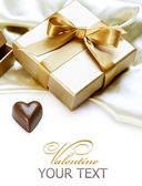 Valentine Gift. Chocolate heart — Stock Photo