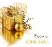 Christmas Gift box and decorations — Stock Photo