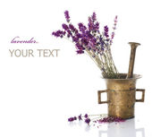 Lavender And Antique Mortar. Natural Cosmetics Concept — Stock Photo