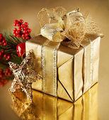Christmas Golden Gift — Stock Photo